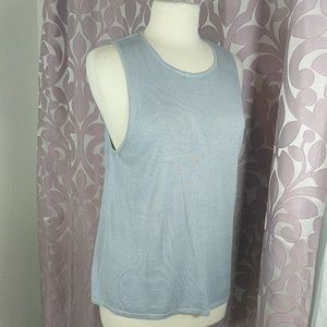 Baby blue 100%silk Sleeveless blouse August Silk